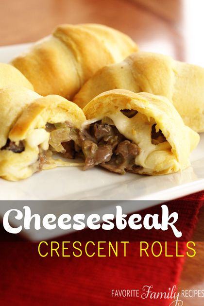 """Philly Cheesesteak Crescent Rolls -- these are SO easy to make and my family LOVED them! My husband begged mt to put them in the """"rotation"""". Would be a great appetizer too! from favfamilyrecipes.com #cheesesteak"""