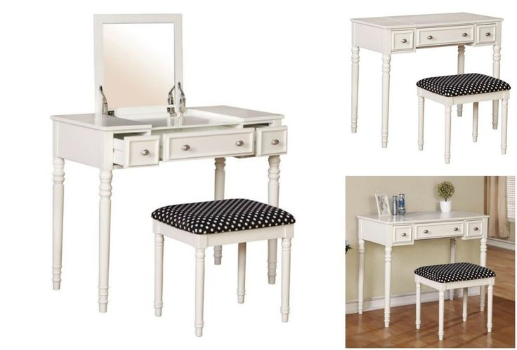 Bedroom Vanity Set Wood Table Stool Bench Console Desk Storage Makeup Dressing #Linon #Transitional