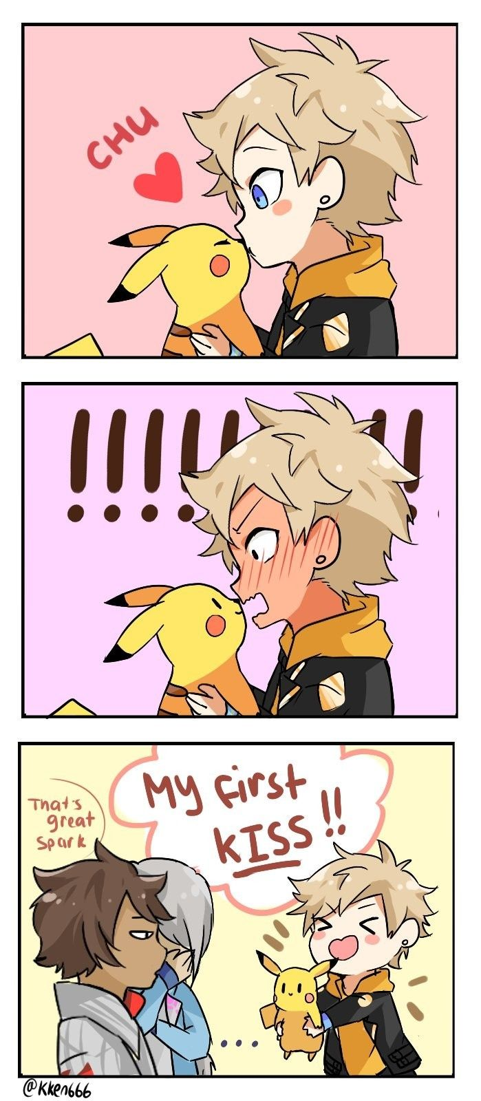 Funny and sweet Pokémon kiss