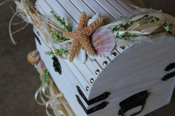 Beach Themed Wedding Treasure ChestCard Holder by LittleBitMyStyle