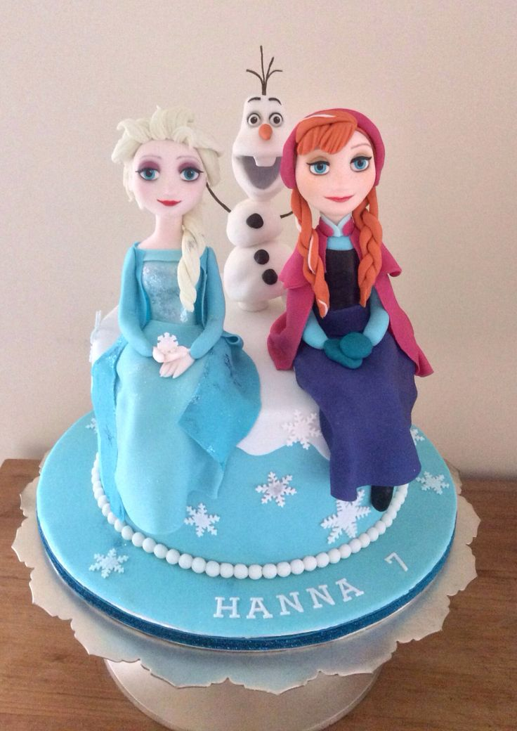 Disney Frozen cake with Anna , Elsa and Olaf , made by Zoe Smith Bluebird-cakes/wintersgate bakery . Facebook.com/wintersgate