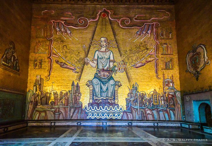 The famous Golden Hall, one of the ceremonial halls of Stadshuset, Stockholm's grandiose City Hall.