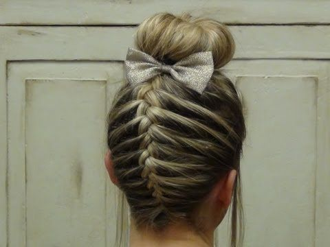 French braid sock bun. Really like how this girl did the sock bun technique for shorter hair.