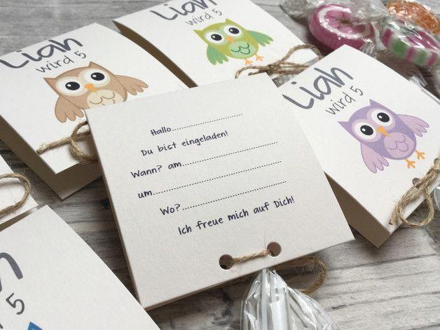 Einladungskarten - Einladung zum Geburtstag mit Lollies Eule - ein Designerstück von Kunstundtext bei DaWanda