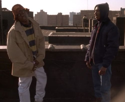 """Omar Epps and Tupac Shakur in scene from movie """"Juice"""""""