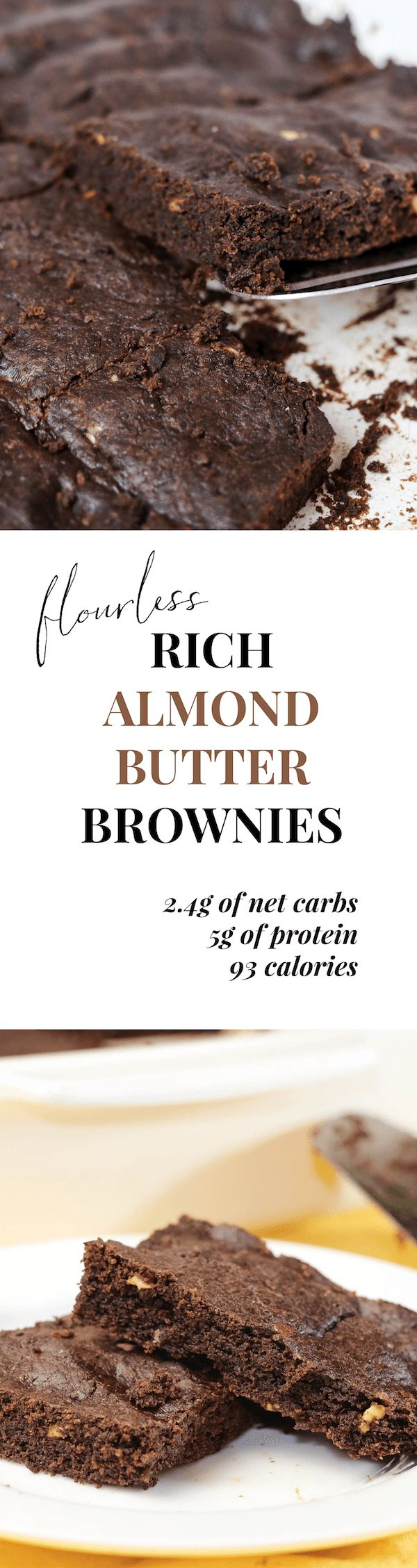 Using almond butter instead of flour makes these brownies incredibly rich. No one will suspect they're only 2.4g carbs and 91 calories each!