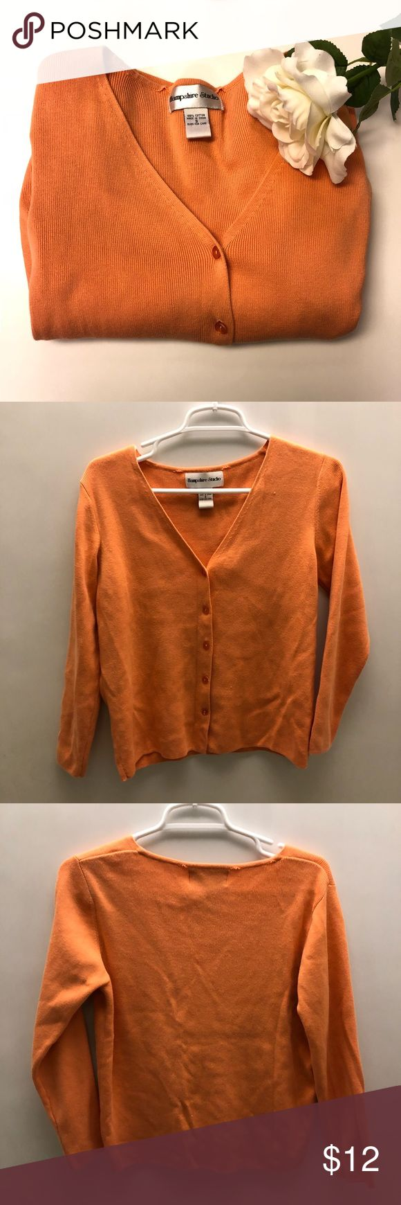 (Hampshire Studios) Orange Cardigan This orange cardigan is in good condition. Light piling on the Cardigan. No holes or stains. Still great to wear!  Measurements:  Bust: 18 1/2 in Length:20 3/4 in  Please do not hesitate to ask any questions!   Same day to next day shipping!  Added: 12/28/17  Storage #: R-51 Hampshire Studios Sweaters Cardigans