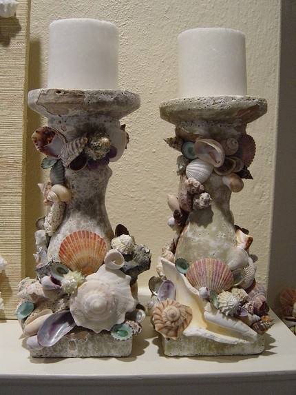sea shell and stone candle holders