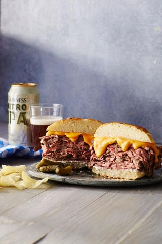 We are not thinkin' Arbys-- not after a roast beef sandich like this one. A classic creamy cheese sauce makes this sandwich super rich, while a horseradish sauce adds a kick. We love the onion bun, preferaby bakery-made, but you could also use a pretzel bun instead. Make this sandwich the centerpiece of your Super Bowl Spread or serve along with beer and fries for a crowd-pleasing meal.