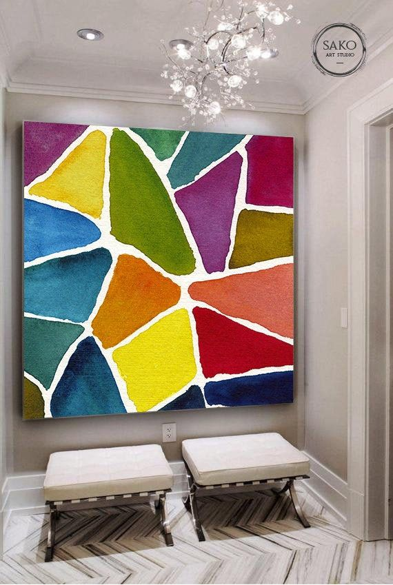 Abstract Painting Original Large Acrylic Canvas Wall Art Etsy Minimal Painting Etsy Wall Art Canvas Wall Art