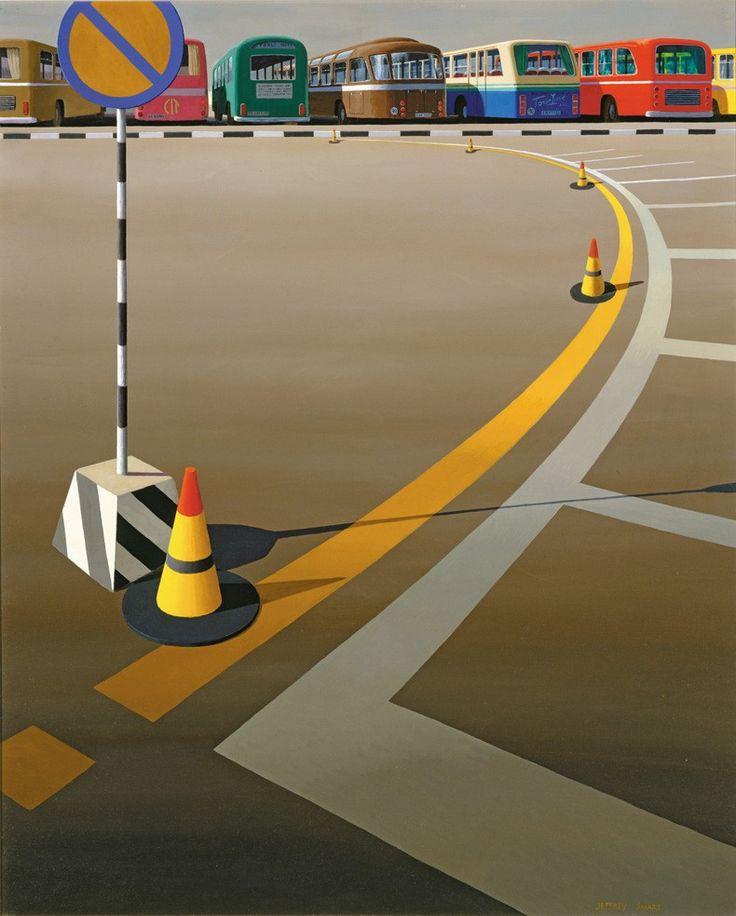 Bus Terminus, 1973, by Jeffrey Smart