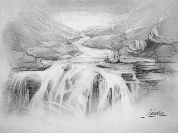 Hoe teken je een waterval / perspectief en landschappen / #6