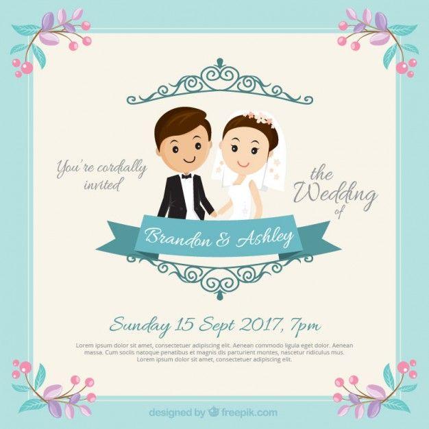 convite do casamento Casal Nice Vetor grátis