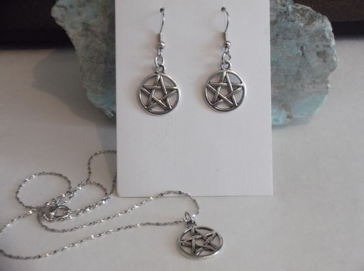 Pentacle Pendant Necklace and Earring Set by HealingAuras on Etsy