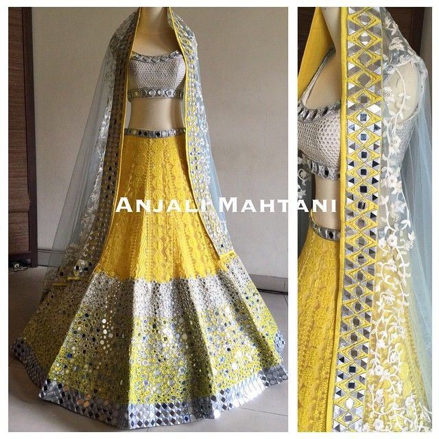 A drop of sunshine ☀️#indianwedding #lehenga Anjali Mahtani