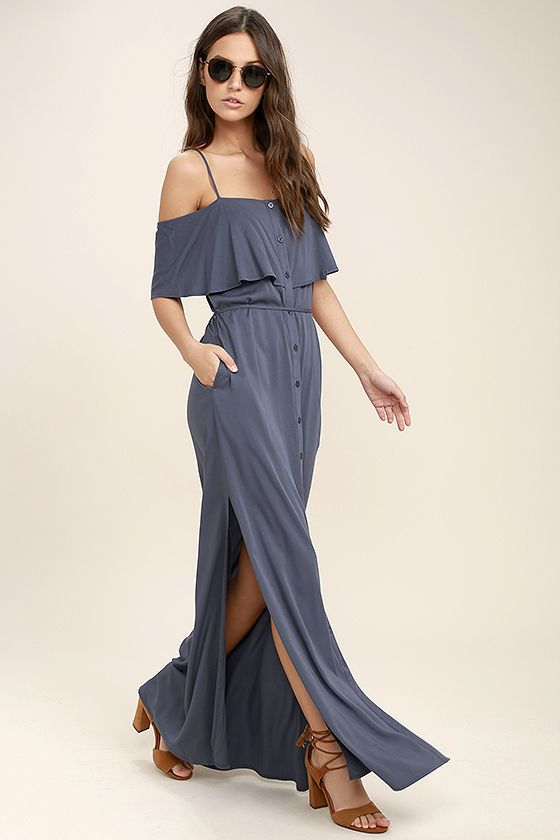 An unforgettable moment waits for you in the Life's Wonders Denim Blue Off-the-Shoulder Maxi Dress! From adjustable spaghetti straps, lightweight woven fabric falls to a fluttering off-the-shoulder flounce, and button-up bodice with tying sash belt. Maxi skirt has hidden side seam pockets, and twin side slits.