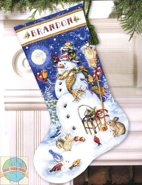 JCS 14CT Рукоделие Ремесла Вышивка Аналогичные Французский DMC Счетный Крест Kit Набор Масляной Живописи Рождественский Носок стиль Снежный человек