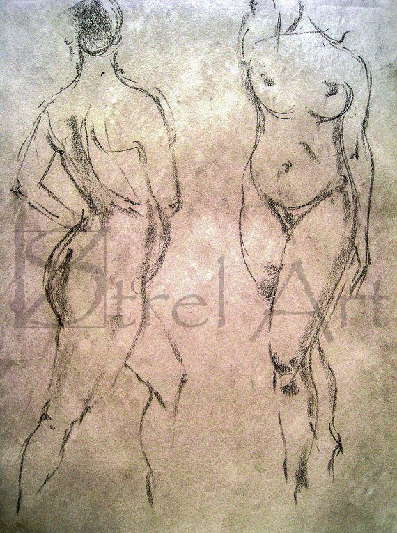 Female nudes 6. Digital image of original charcoal by ArtViStrel