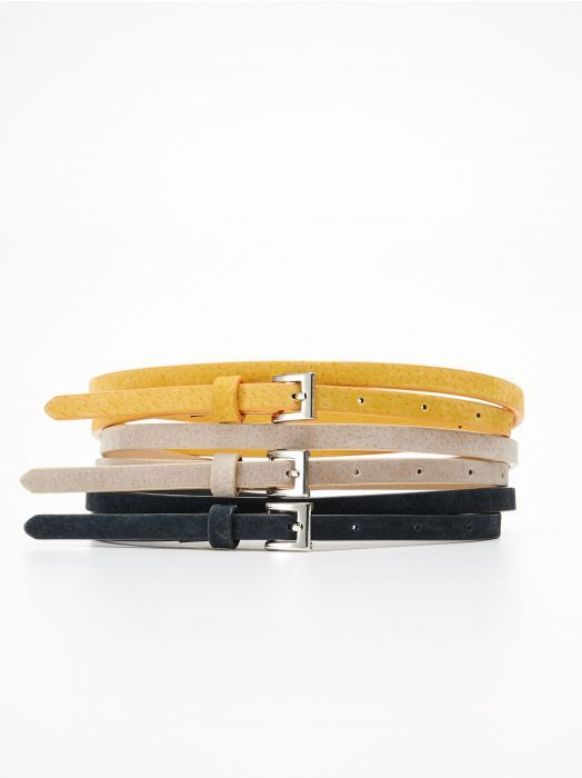 Reserved 3 pack skinny belt #yellow #beige #navy