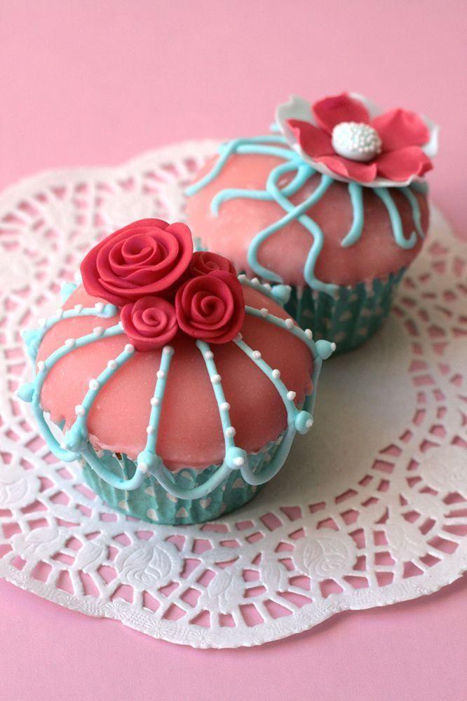 Vintage rosa e turchese Cupcakes