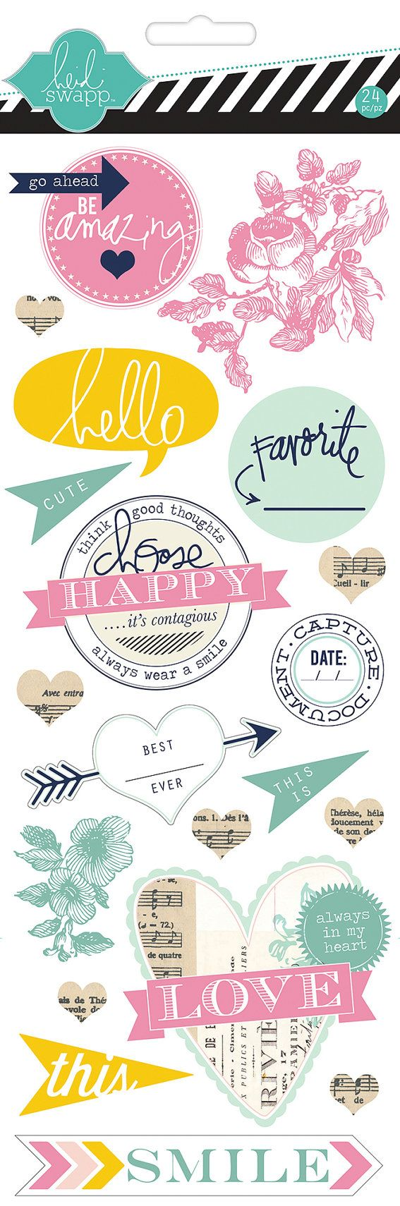 Stickers Chipboard de Heidi Swapp ser feliz