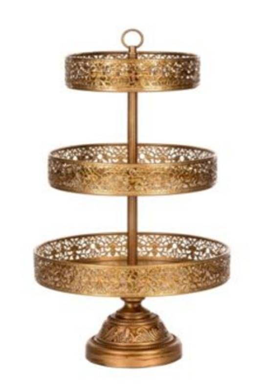 12 inch, 10 inch & 8 inch gold  cup cake stands. Over 25 different cake stands available to hire / rent.  The Cake Lab Bakery, Ranelagh, Dublin, Ireland. Artisan Baking Studio.