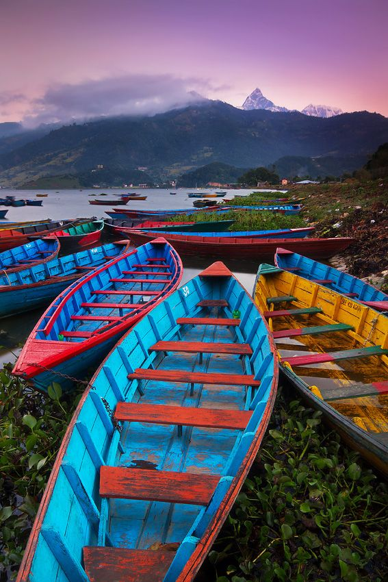 Lake Phewa Tal, Pokhara, with colorful boats lining the shore; photo by Dylan & Marianne Toh