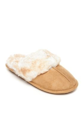 Jessica Simpson Women's Microsuede Slippers - Tan - Xl