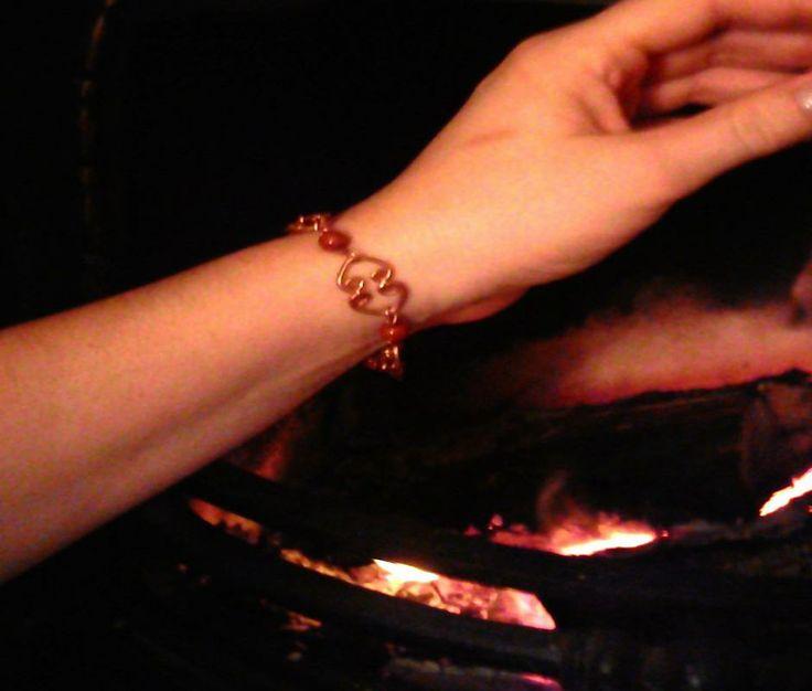 Handmade Copper Heart Link Bracelet