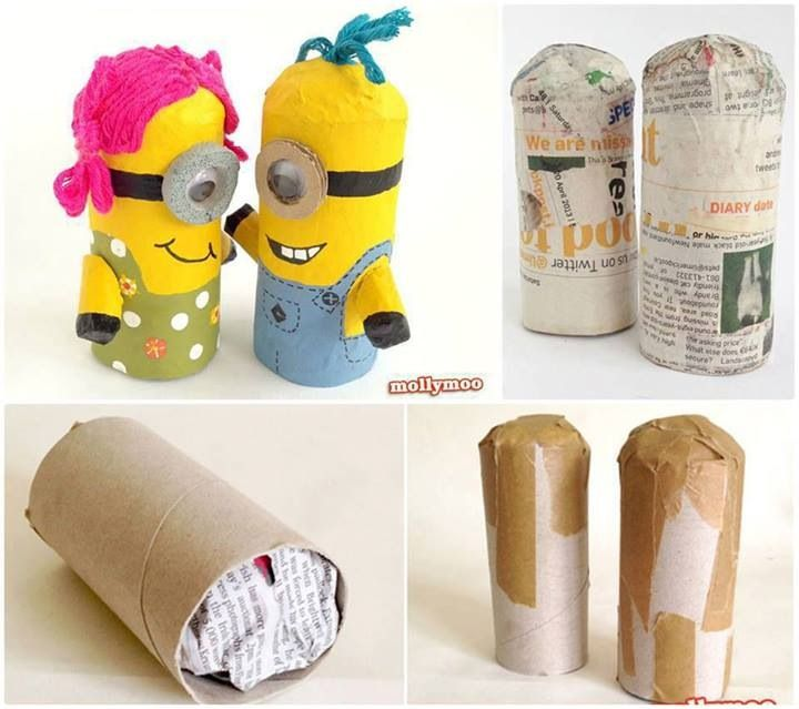Minions made out of toilet paper rolls.
