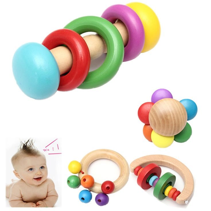 High Quality Funny Design Kid Baby Wooden Bell Rattle Toy Handbell Musical Education Percussion Instrument Development Toys