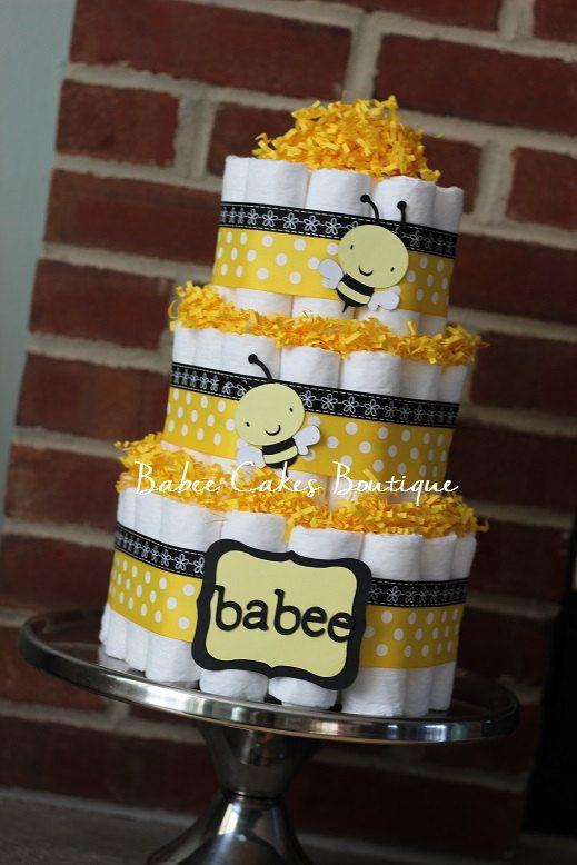 3 Tier Babee Bee Diaper Cake Gender Neutral By Babeecakesboutique