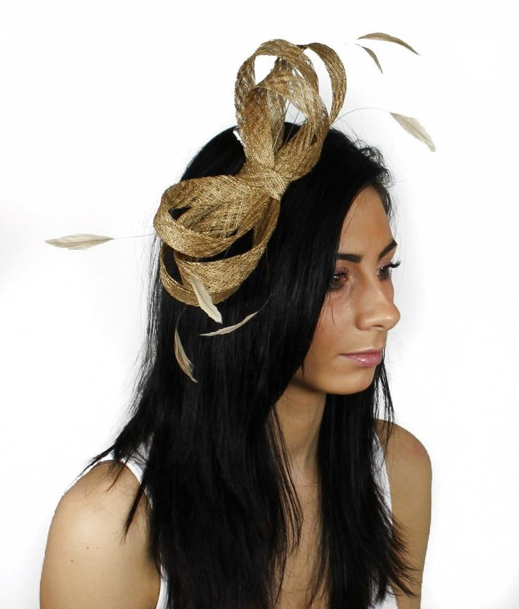 Metalic Gold Fascinator Hat for Kentucky Derby Weddings and Christmas Parties on a Headband #kentuckyderbyhat #kentuckyderby #derbyhat