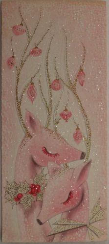 #144 60s Mid Century Modern Pink Glittered Deer -Vintage Christmas Card