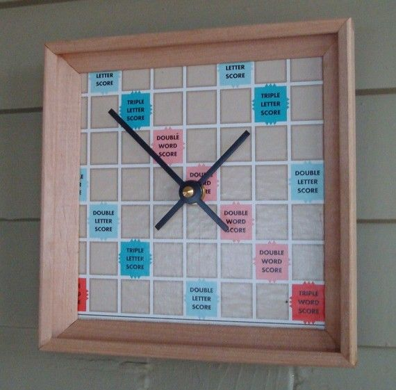 Clock Scrabble Board and Racks Upcycled Game