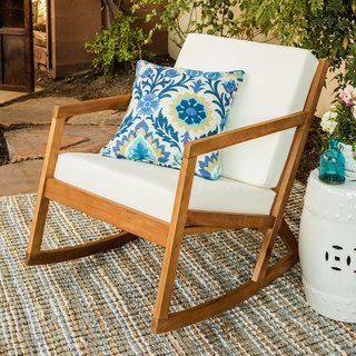 Safavieh Outdoor Living Vernon Brown/ Tan Rocking Chair | Overstock.com Shopping - The Best Deals on Sofas, Chairs & Sectionals