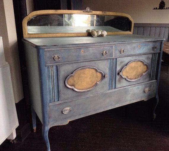 Hand Painted Furniture Painted Furniture Antique Blue Buffet Annie Sloan Chalk Paint Milk