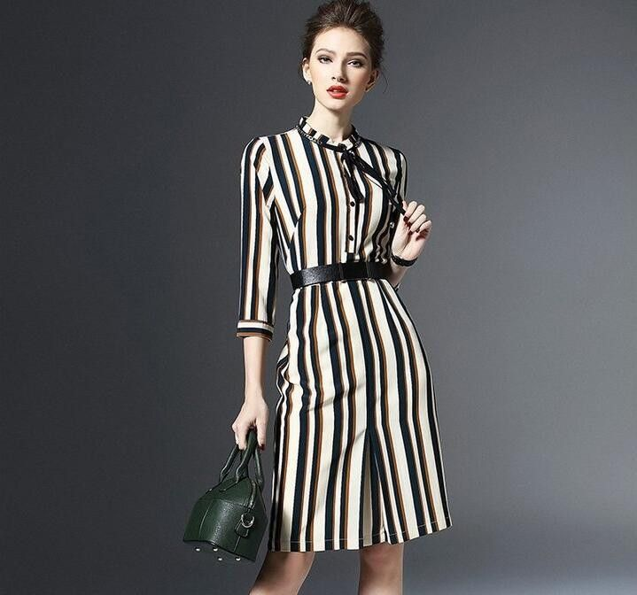 Womens 2016 Summer Autumn Dress Sexy Slim 3/4 Sleeve Casual Stripe Print Tunic Work Office Wear Party Midi Dresses With Belt