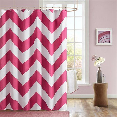 22 best pink chevron shower curtain images on pinterest | chevron