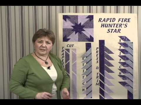 Learn how to use Deb Tucker's Rapid Fire Hunter's Star rulers - both the Petite Star and the Large Star.  Step by step instructions take you through the process of strip piecing and trimming down the Hunter's Star block using Deb's Rapid Fire (TM) process.