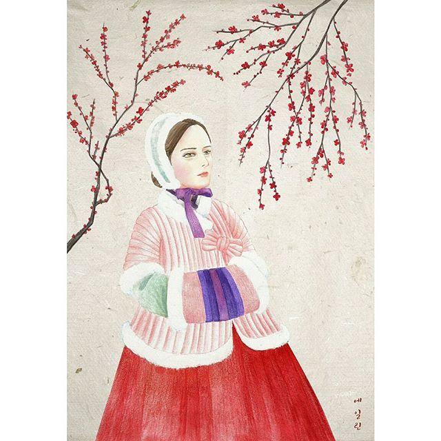 Flower of winter  #illustration #drawing #winter #winterflowers #flowers #hanbok #korean #koreanstyle #painting #coloredpencils #일러스트 #일러스트레이션 #그림 #드로잉 #겨울 #색연필 #매화 #설중매 #한복 #누비저고리 #apricotblossom