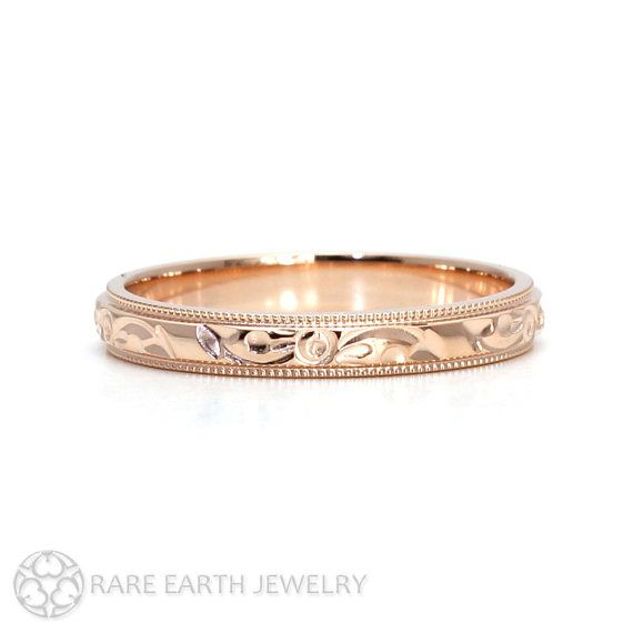 Engraved Wedding Band Vintage Wedding Ring 3mm Floral Pattern in 14K or 18K Gold by RareEarth