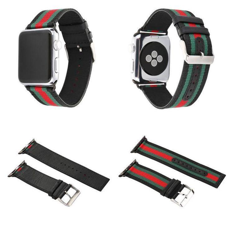 RedGreenBlack Apple Watch Band Strap  Wrist Brace Gucci Pattern 42mm #HUANLONG