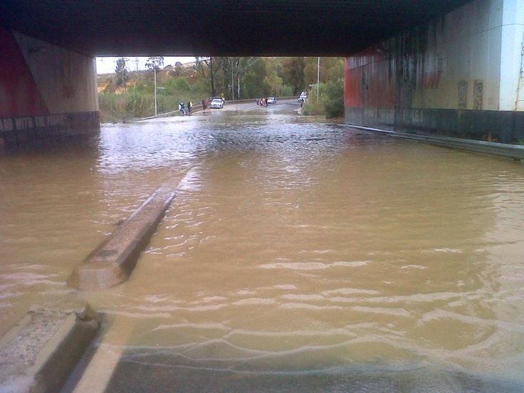 Soweto, ECape Floods | A flooded section of New Canada Road in Soweto. The area under the bridge is notorious for flooding following heavy rains in Gauteng. | Photo eNCA