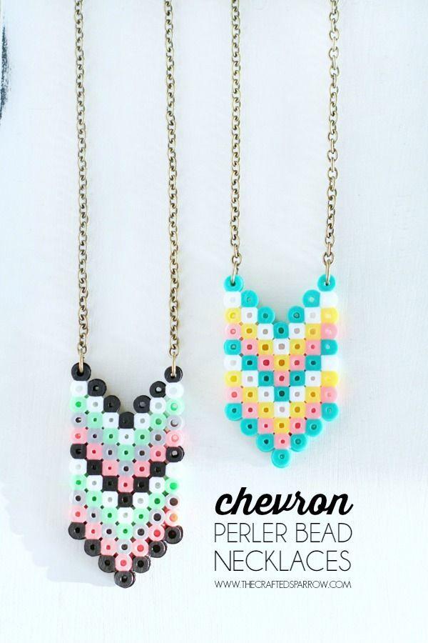 Chevron Perler Bead Necklaces - super cute!