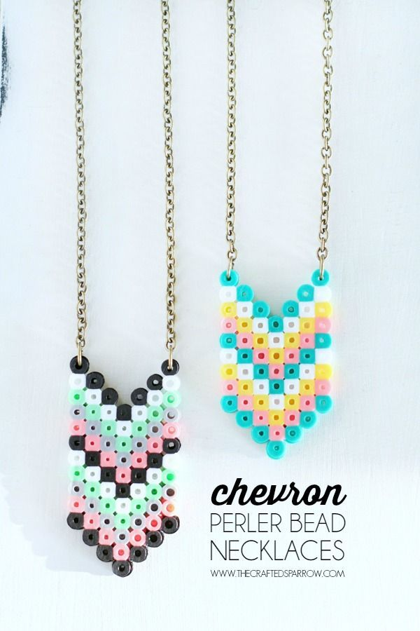Chevron Perler Bead Necklaces - thecraftedsparrow.com