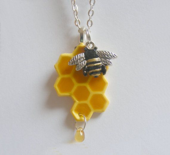 13. Honey Bee Necklace Honeycomb Necklace Pendant - Miniature Food Jewelry,Handmade Jewelry Necklace Pendant--Black and Gold