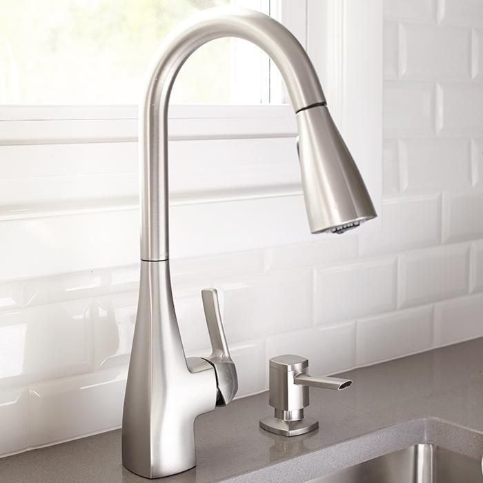 Get into the flow of a new look by upgrading your old faucet. This sleek single-handle model features a restaurant-style pull-down sprayer and a stainless-steel finish that resists fingerprints and water spots.