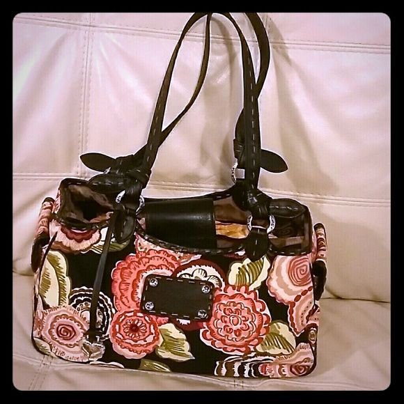 Floral Brighton Purse Black leather and Floral Print purse.  Light weight, like new . Brighton  Bags Satchels