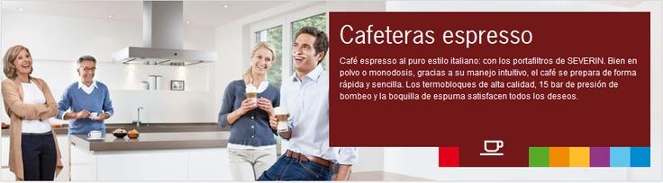Cafeteras espresso  Café espresso al puro estilo italiano: con los portafiltros de SEVERIN. Bien en polvo o monodosis, gracias a su manejo intuitivo, el café se prepara de forma rápida y sencilla. Los termobloques de alta calidad, 15 bar de presión de bombeo y la boquilla de espuma satisfacen todos los deseos.